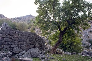 old stone fence in the mountains of Kotor