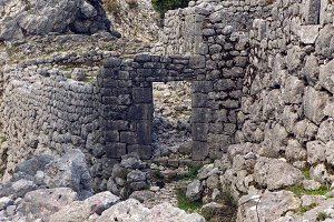old stone ruins in the mountains in the town of Kotor