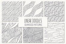 Linear Doodles. Seamless Patterns