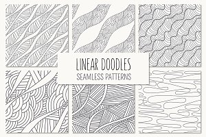 Linear Doodles. Seamless Patterns