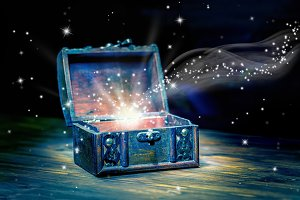 chest treasure with mystical miracle