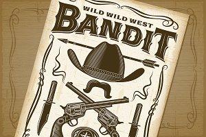 Vintage Wild West Bandit Poster
