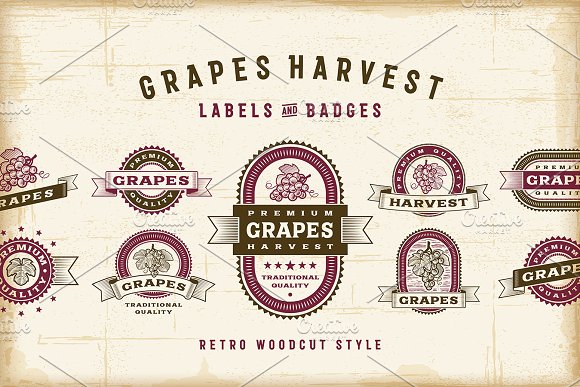 Vintage Grapes Labels Set