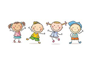 Four happy kids dancing or jumping