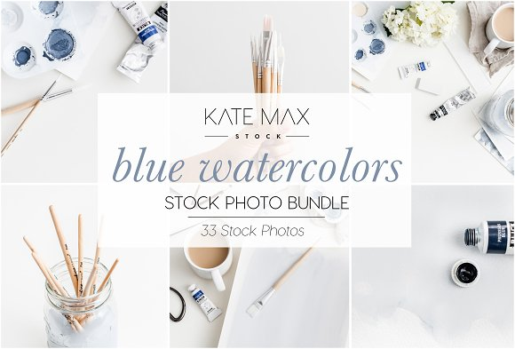 Blue Watercolors Stock Photo Bundle