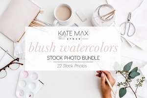 Blush Pink Watercolors Stock Bundle