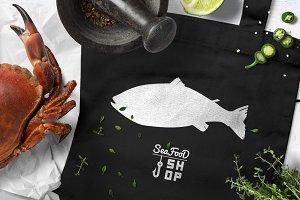 Seafood shop illustrations