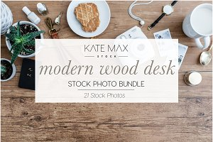 Modern Wood Desk Stock Photo Bundle