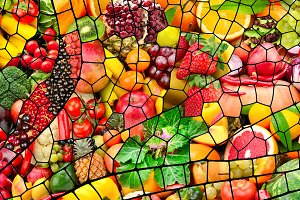Collage of fresh fruits and vegetabl