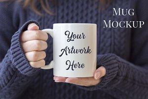 Mug mockup- woman holding mug