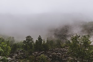 Minimal Mountain Landscape in Fog