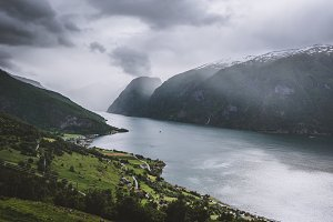 Norwegian Fjord Landscape in Clouds