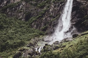 Waterfall in the Mountains of Norway