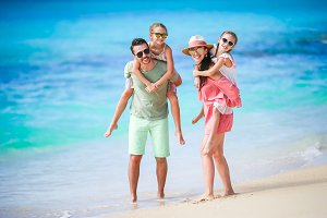 Happy family on beach vacation