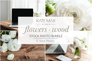 Flowers + Wood Stock Photo Bundle