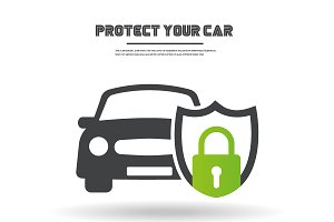 Car in shield icon vector