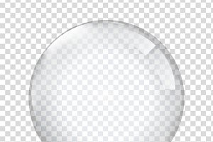 Transparent glas. White pearl, water
