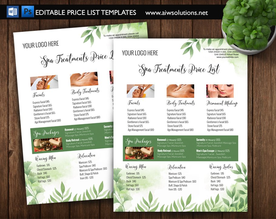 green spa price list id5 flyer templates creative market