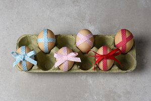 Eggs decorated ribbon for Easter