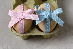 Eggs decorated with ribbon Easter
