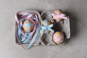 Ribbon Decorated Eggs For Easter