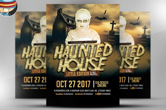 Little Haunted House Flyer Template2