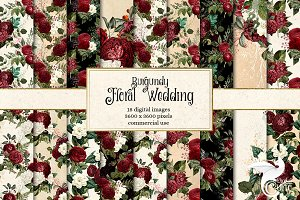 Burgundy Floral Wedding Backgrounds