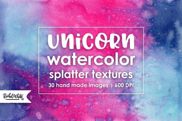 Unicorn Watercolor Splatter Texture…