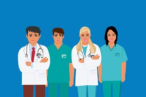 Doctors, medical personnel, vector