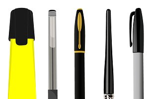 Pen sets, vector illustration