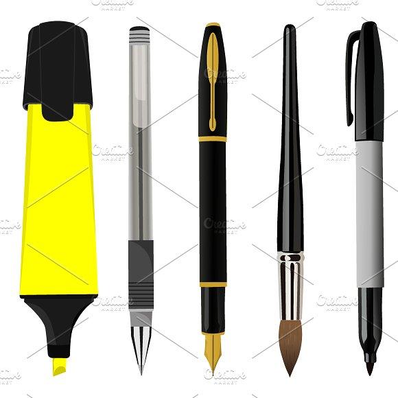Pen Sets Vector Illustration