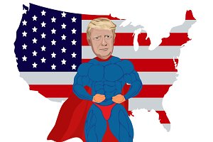 Donald Trump, superhero, map, vector
