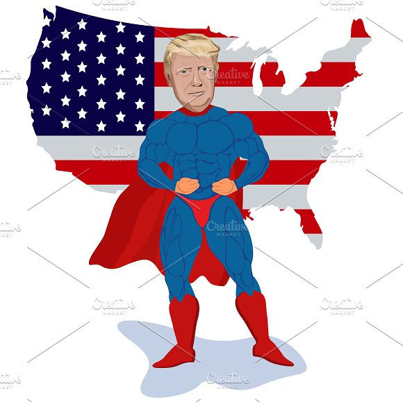 Donald Trump Superhero Map Vector