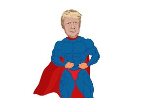 Trump, president, superhero, vector