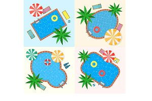 Swimming Pool Set. Vector