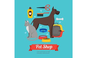 Cartoon Domestic Pet Shop