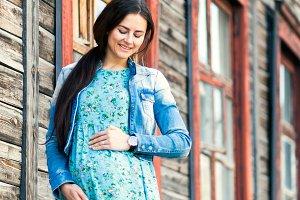 Fashionable pregnant woman