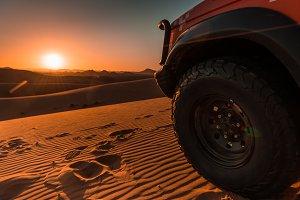 4x4 vehicles and dunes,Sahara desert