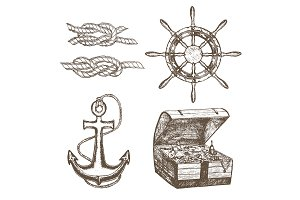 Sailor Equipment Set Hand Draw