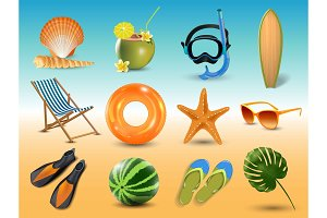vector illustration of Realistic summer holidays seaside beach icons set isolated on seaside background