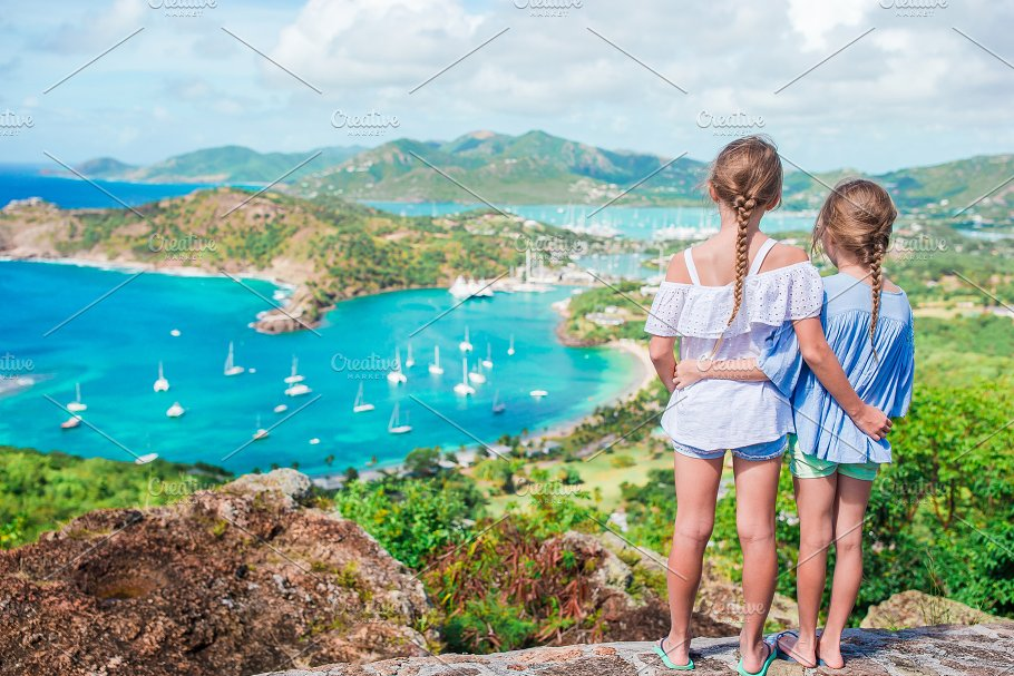 little kids with beautiful famous view view of english harbor from shirley heights antigua - Picture Of Little Kids