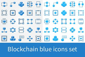 Blockchain blue icons set