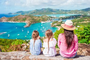Family vacation. View of English Harbor from Shirley Heights, Antigua, paradise bay at tropical island in the Caribbean Sea