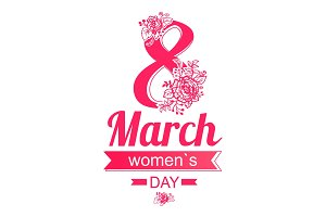 8 March Greeting Card International Womens Day