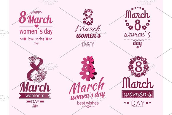 8 March Greeting Cards Design Dedicated Women Day