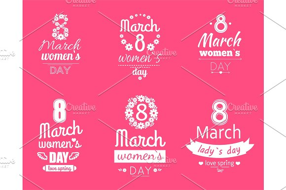 Group Of Labels Womens Day March 8 Greeting Cards