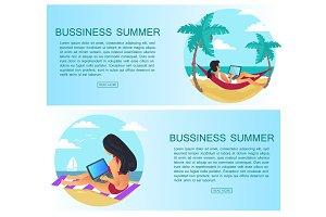 Business Summer Set of Pages Vector Illustration