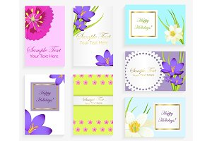 Greeting Colorful Cards with Flowers and Text Set