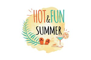 Hot and Fun Summer Icon Isolated Vector on White
