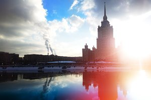 Moscow city hotel background with light leak